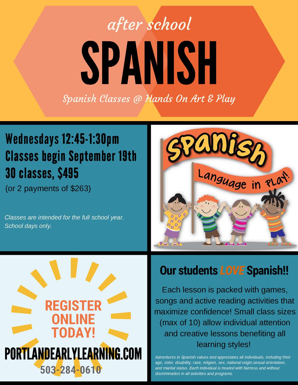 After School - Spanish 2018 - Hands On Art & Play Preschool